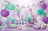Addobbi per compleanno fai da te: sfondo del tavolo e festoni originali